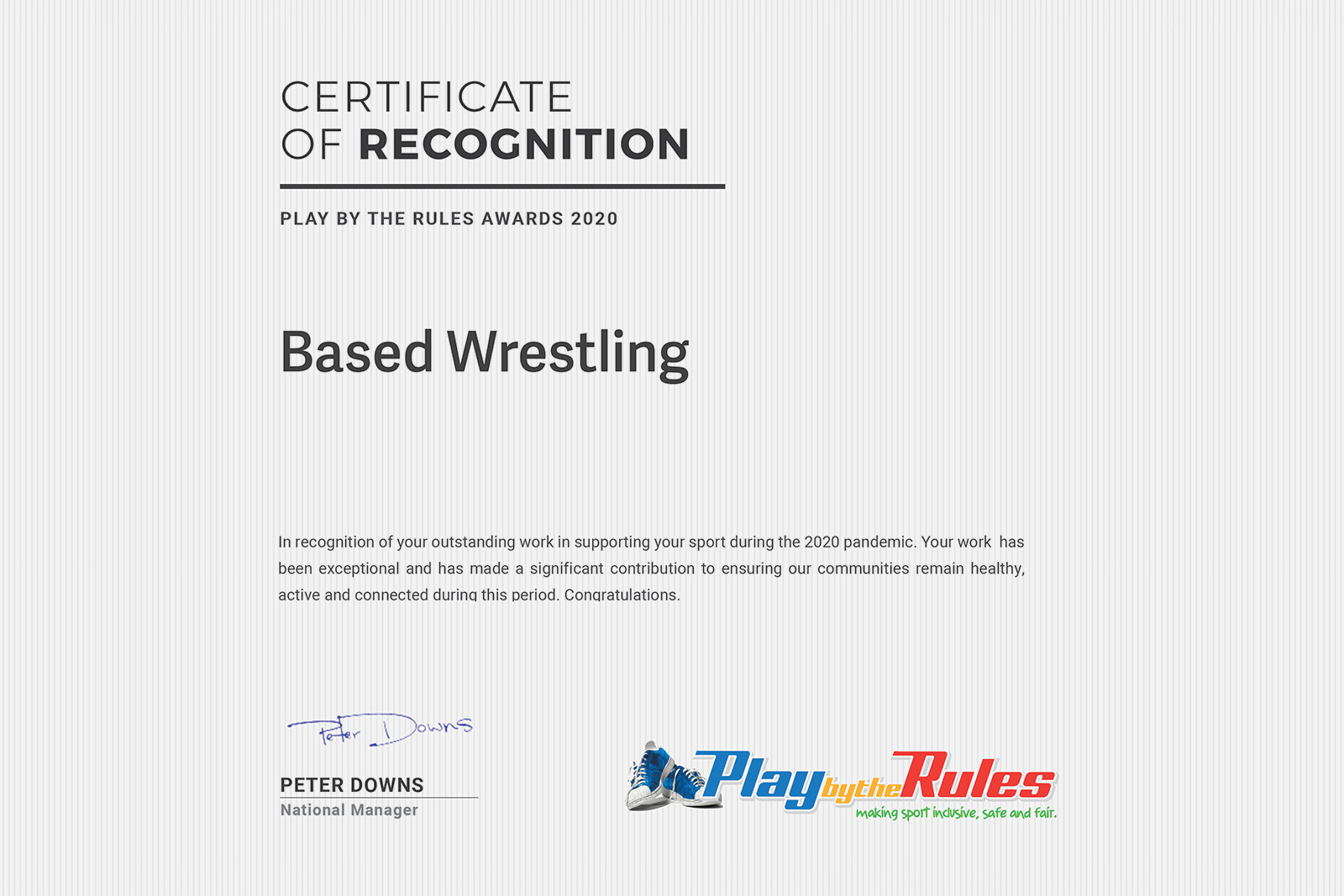 BASED Wrestling Play by the Rules Awards 2020 image